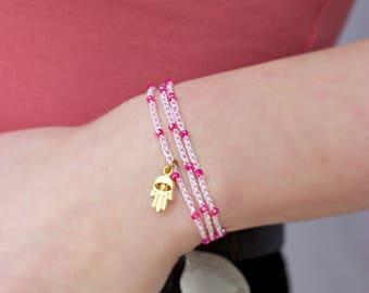 Hamsa Hand Charm Anklet/Bracelet / Boho Pink Anklet /boho crochet bracelet
