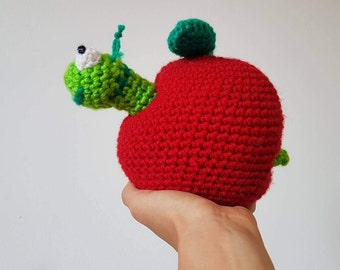 Crochet Apple and Worm Toy, Cute Apple Worm toy, Handmade Crochet Apple, Amigurumi Worm & Apple - MADE TO ORDER