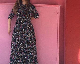 Maxi Dress / Floral Print Maxi Dress / Boho Dress by FabraModaStudio / D122