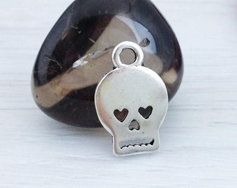 Skeleton Face Charms, Skull Charms, Antique Silver, Sugar Skull, Hearts, Halloween Charms, Scrapbooking, CH201