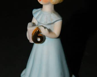 Vintage Happy Birthday 6 year Old-Growling Up Birthday Girl-Part of a Collection Series of Age Figurines-A Birthday Gift For a Dresser-Shelf