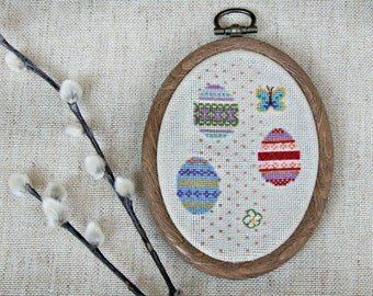 Easter eggs framed cross stitch decoration mini hoop art oval wall hanging cute Easter gift finished cross stitch festive home decor