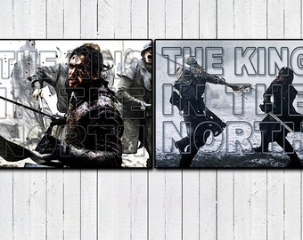 """JON SNOW King in the North Typography Posters, 11x14"""" prints, Game of Thrones, 2 Pack Posters, Westeros, House Stark, The Nights Watch, Tv"""