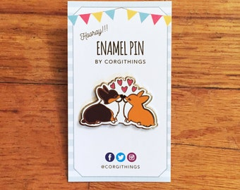 Corgi Kisses Enamel Pin | Corgimoji Collectible Series | 1.5 inch Hard Cloisonne Enamel Lapel Corgi Pin | Polished Silver Backing