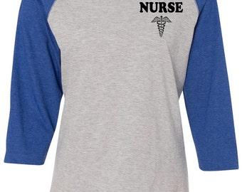 Nurses Raglan Tee with Medical Emblem Nurse Appreciation Registered Nurse Nursing TShirts Nursing Student Shirts for Nurse Nurse Gift Nurses