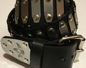 Black Leather Rivet Belt with Silver Hexribs and VRLK logo belt tip