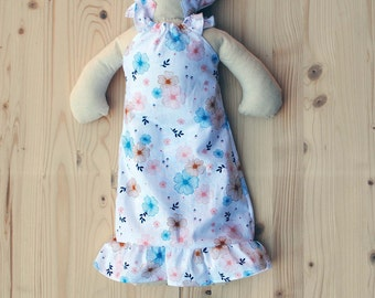rag doll stuffed with kapok / fabric doll / doll with nightgown