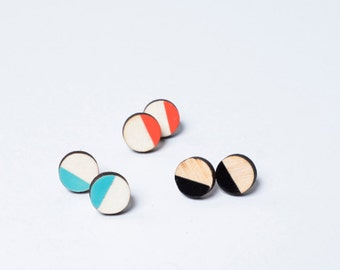 Earrings circles wood geometric