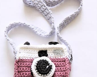 Kids bag-hand made crochet camera