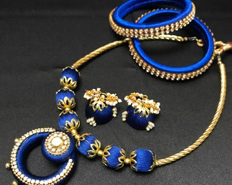 Navy Blue Silk Thread Jewelry - Indian Silk Thread Jewelry - Indian Jewelry Set - Indian Bridal - Indian Wedding - Silk Bangles - Jhumka -