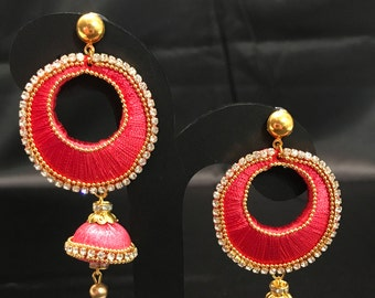 Indian Jewelry - Silk Thread Jewelry - Salmon Pink and Light Pink Silk Thread Jewelry - Lightweight Earrings - Indian Earrings - Bollywood -