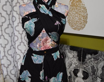 Romp on the Beach /Bali Batik Tropical Vintage Floral Cotton Convertible Romper/  Pin-Up Playsuit by Java Wraps Size Small