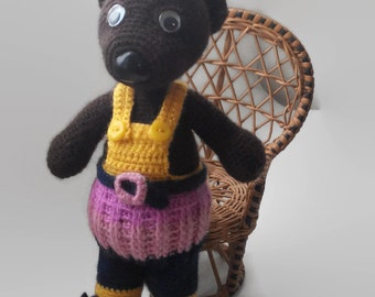 Crochet Teddy Bear with hat PlushToy Crochet Teddy Stuffed Animal Bear Amigurumi Unique toy Plush Bear Handmade Crochet Toy Plush Knit Bear