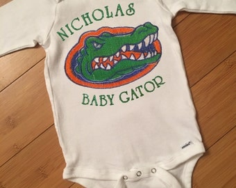 5% off! Baby Gator Bodysuit Personalized for University of Florida - coupon details below