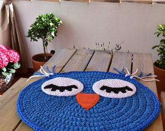 Baby T Shirt Yarn Carpet, Búho Model: Rug   Baby Rug   Round