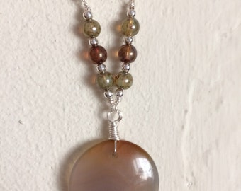 Round Agate Pendant with Czech Glass on Silver Chain with Toggle Clasp, boho style necklace, statement necklace, bohemian jewelry