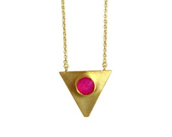 Gold triangle pendant with pink fuchsia chalcedony , Gold Vermeil triangle pendant necklace, Handmade necklace