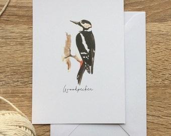 Woodpecker card/ blank greeting card/ woodland bird/ british/ illustrated bird/ bird lover gift