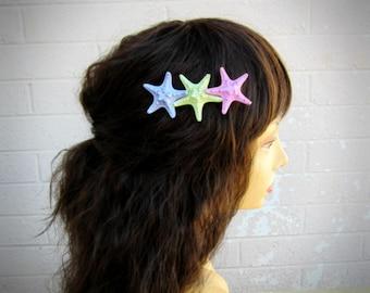 Starfish Hair Clip, Mermaid Hair Clip, Nautical Hair Clip, Knobby Starfish, Beach Weddings, Mermaid Accessories, Under the Sea Hair Clip