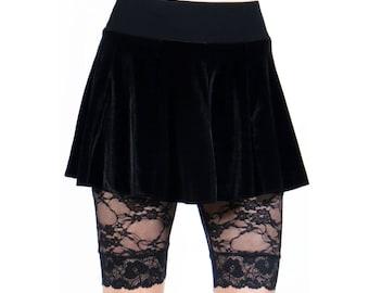 Black Stretch Velvet Circle Skirt XS S M L XL 2XL 3xl plus size goth gothic flared mini high-waisted high waist cotton elastic