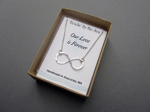 Silver Infinity Necklace, Figure 8 Necklace, Sterling Silver Jewelry, Hammered Infinity Link Necklace, Gift for Her, Love Symbol Necklace