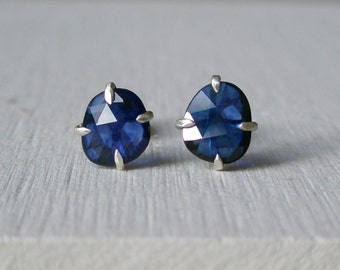 Blue Sapphire Stud Earrings - Prong Set - Rose Cut - Free Form Cut - September Birthstone - Blue Gemstone - Sterling Silver - One of a Kind