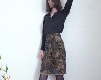 Vintage Silk Floral Succulent Olive and Teal Jones New York wrap Skirt