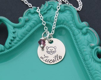 Cat Necklace • Cat Jewelry • Cat Lover Gift • Kitty Cat Gift • Personalized Cat Pendant • Girls Necklace • Kitty Jewelry • Cat Party Favors
