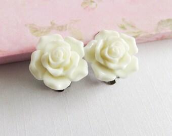 Ivory rose clip on earrings, flower earrings, flower girl gift, little girl earrings, childrens jewelry, granddaughter gift