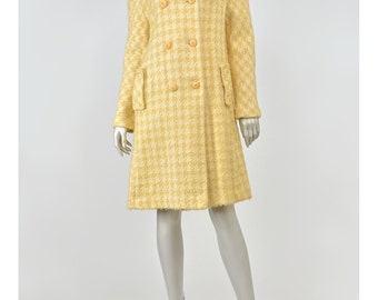 30% 0FF SALE Vintage Houndstooth Coat Jackie O 60s Coat Yellow Wool Coat 1960s Coat Plaid Check Coat Double Breasted Coat Princess Coat