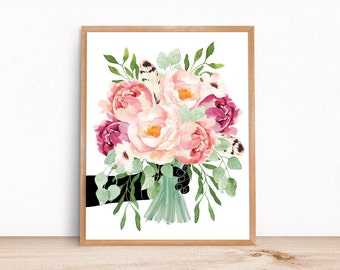 Peony Flowers Watercolor Hand Bouquet / 14 x11 print