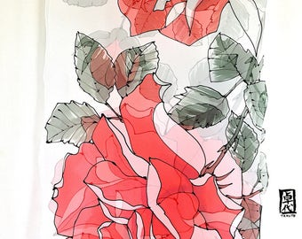 Hand Painted Silk Scarf Shawl, ETSY, Eternal Red Roses Scarf, Red Silk Wrap, Silk Shawl, Takuyo, 22x90 inches, Made to order