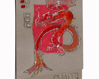 Fiery red dragon on grey - blank greeting card, handmade, art, painting silver dragon, asia, Chinese style, white, silver, black OOAK