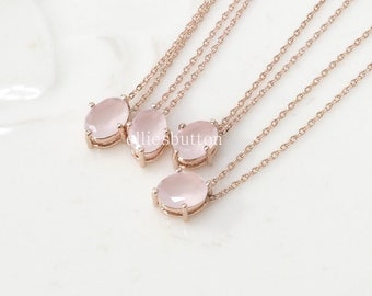 Bridesmaid gifts - Set of 7, 8, 9 - pink crystal necklace, rose gold necklace, stone in bezel, wedding jewelry, bridesmaid necklace