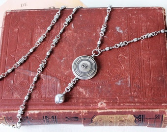 Designer Button Necklace, long beaded necklace silver, Authentic Designer Button, Beautiful Gifts Birthday, Button Jewelry veryDonna