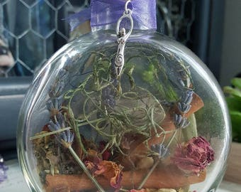 Home Blessing - Witch Bottle - Herbal Blessing - Yule Decor - House Protection Spell- Wiccan - Pagan