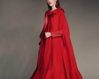 100% CASHMERE Cloak Cape with Ruffle Hem in Red, Black; maxi red jacket poncho, wool coat in red, wool cape cloak, flattering cloak, women