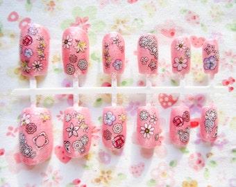 Pink Kawaii Fake Nails, Pink, Glitter, False Nails, Acrylic Nails, Press on Nails, Cute, Nails, Japanese Nail Art