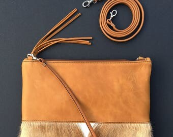 Natural Springbok and sand leather clutch L