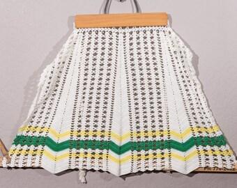 Vintage Apron, Vintage Handmade Apron, Vintage Crochet Apron, Cottage Chic, Granny Chic, Boho