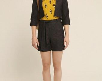 Women's shorts - Comfortable - Mid-thigh - High waist - Pockets - Belt - Été indien shorts Black denim -20%
