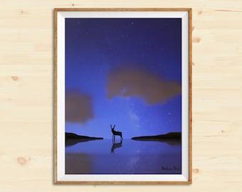 Blue Sky | Starry night deer | Watercolor art print | Wall decor | Home decor | Watercolor digital art | Wedding gift | Gift idea | Paper art