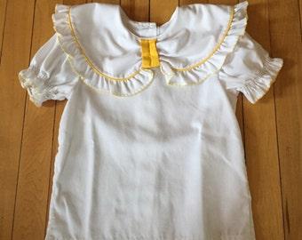 Vintage 1980s Girls Yellow White Ruffle Blouse Top Shirt! Size 4-5
