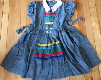 Vintage 1960s Girls Rainbow Stripe Dress! Size 6-7