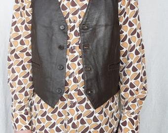 Mens leather vest Genuine leather Chocolate brown Mens vest Original vest Biker rocker Vintage waistcoat Country Western Small size