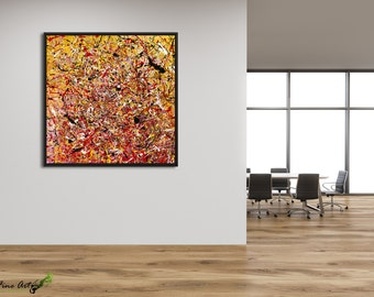 Large wall art framed, Livingroom wall decor, Original painting, Yellow and Red painting, Abstract painting Jackson pollock style by Rasko