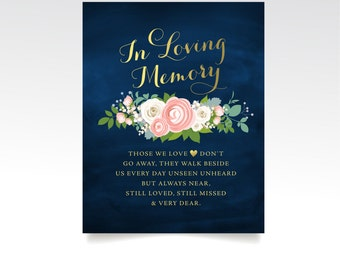 The JENNY . Remeberance Sign . Printed Sign or PDF . Gold & Navy Chalkboard . Blush Cream Rose Peony Dusty Miller . In Loving Memory Wedding