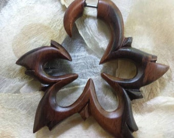 Organic Wood Fake Stretcher Cheater Expander Tribal Lotus Pair of Earrings for NORMAL pierced ears - Ethnic, Boho, Funky, Steampunk