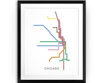 Chicago Subway Map Poster - Chicago Metro, Chicago L Train Map Print, Chicago Transit Map Print, CTA Map - a minimalist graphic design print
