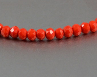 Chinese Crystal Tiny Rondelles in Opaque Vibrant Tangerine Orange 3x4mm